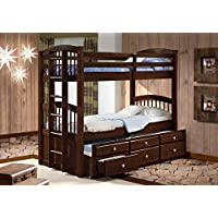 DONCO Kids 134-3CP Captains Trundle Bunk Bed, Twin/Twin, Dark Cappuccino