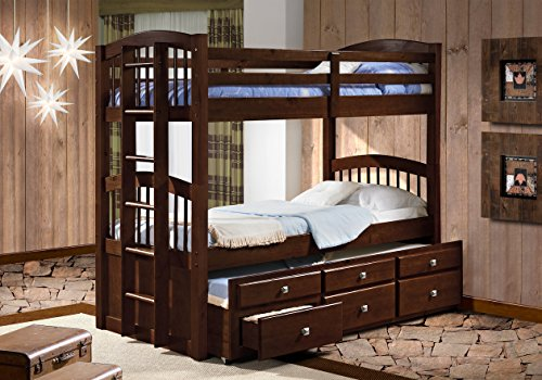 Donco Kids 134-3-Ttcp Angelica Captains Trundle Bunk Bed, Twin/Twin/Twin, Dark Cappuccino