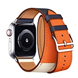 Compatible/Replacement for Apple Watch Band Double Tour 44mm 40mm 42mm 38mm Series 4/3 /2/1 Replace for iWatch Strap Leather Bands