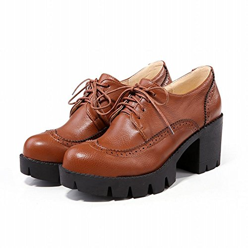 Women's Heel Chunky Up Foot Lace Charm Shoes Oxfords Platform Brown Un1c5f7W7