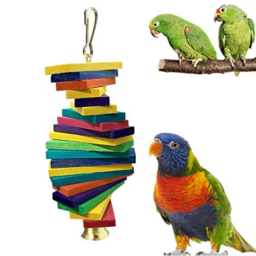 (Pets Bird Hanging Building Blocks Toy Bird Cage Pendant Chew Toy With Bell for Parrot Pet Handmade Climbing Wood Ladder)