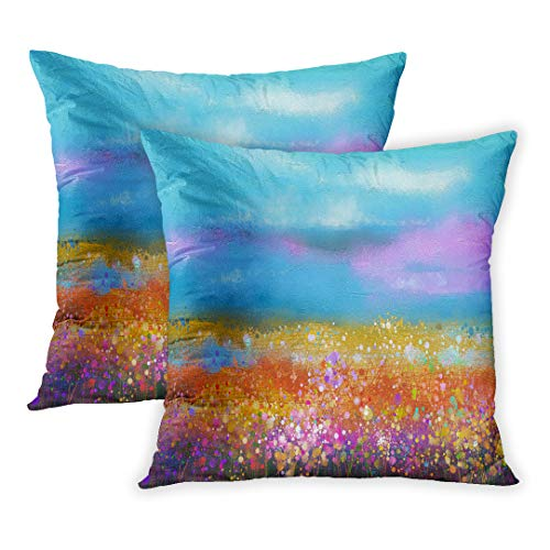 Emvency Throw Pillow Cover Pack of 2, Abstract Colorful Oil Painting Landscape Semi of Wildflower and Field Yellow and Red at Meadow Blue Sky Home Decor Square Size 16 x 16 Inches Cushion Pillowcase ()