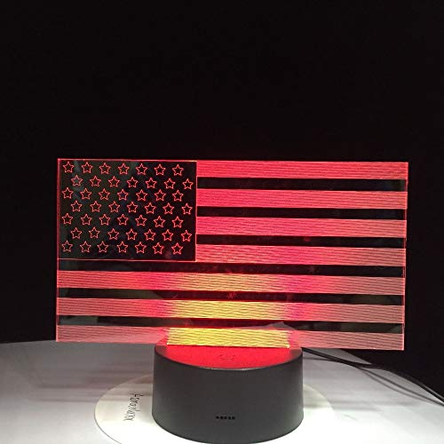 RTYHI American Flag Stripes Table Lamp 7 Color Changing USB Bedroom Decor 3D LED Night Lights Bedside Sleep Light Gifts,Touch Switch Home Decoration Sleep Table Lamp ()