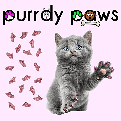 40-Pack Soft Nail Caps For Cat Claws PINK GLITTER KITTEN Purrdy Paws by Purrdy Paws