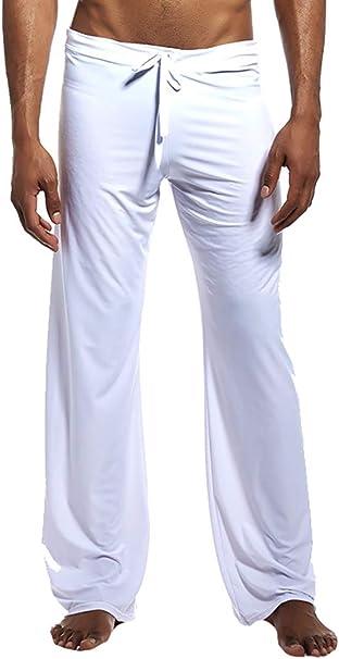 ChengZhong - Pantalones de Pijama para Hombre, de algodón, para Dormir, Largos, con Cintura Alta Blanco Blanco M: Amazon.es: Ropa y accesorios