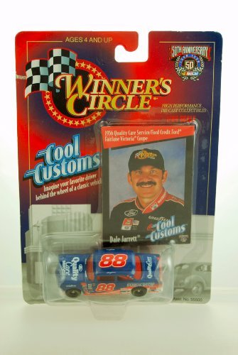 - 1998 - Kenner - Winner's Circle - NASCAR 50th Anniversary - Cool Customs Series - 1956 Ford Fairlane Victoria Coupe - Dale Jarrett #88 - w/ Trading Card - Limited Edition - Collectible