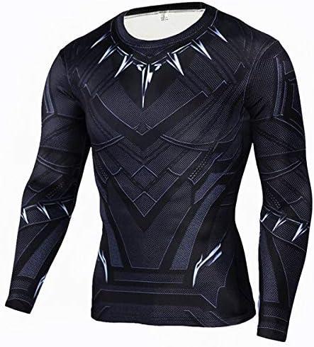 GYHS フィットネスMMAコンプレッションシャツ男性アニメボディービル長袖ワークアウト3DスーパーマンパニッシャーTシャツTシャツトップス (色 : TC105, サイズ : Aisan XL)
