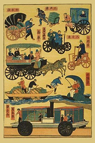 variety of vehicles including rickshaws a coach a hand-drawn cart wheeled devices powered by hands and feet paddleboats and some type of train Poster Print by unknown (24 x 36) by Posterazzi