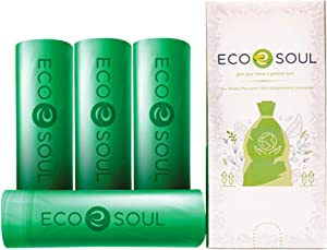 ECO SOUL100% Compostable Trash Bags | Biodegradable | Eco Friendly Biobag | Heavy Duty, Fits Tall Kitchen, Bathroom, Office Garbage Bins | Durable & Leak-Resistant | Compost Bin | Sizes (13 Gallon, 100 Count)
