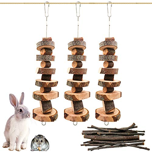 Roundler Small Animal Chew Toys, Apple Wood Bunny Pet Tooth Chew Toys, Pet Snacks Toys for Rabbits, Chinchilla, Hamsters, Guinea Pigs, Gerbils, Mini Macaws, Parrots (Style 1)