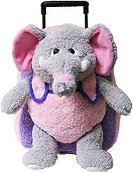 Elephant Purple Pink Kids Plush Animal Roller Backpack