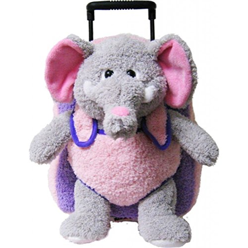 Elephant Purple Pink Kids Plush Animal Roller Backpack ()