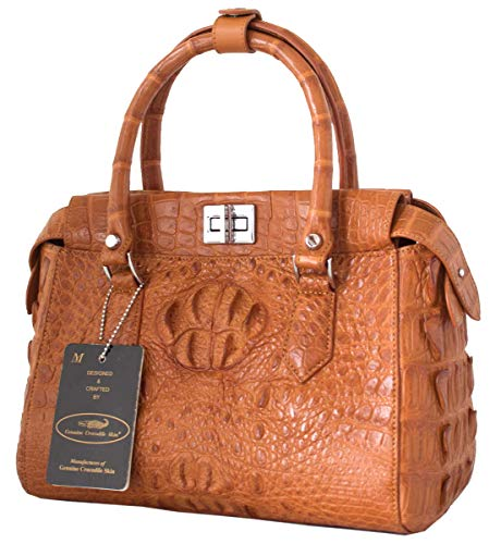 Crocodile W Skin Womens Tote Authentic Hornback Handbag Tan M Bag Strap Hobo T5q6U