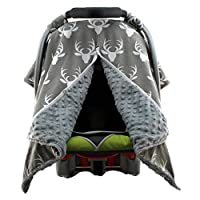 Dear Baby Gear Car Seat Canopy, Antlers on Grey, Grey Minky