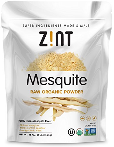 Raw Mesquite Powder by Zint: Organic, Non GMO, Vegan Protein Superfood - Mesquite Beans and Pods - Delicious Gluten Free Flour Substitute (16 oz) Mesquite Flour