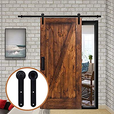 LWZH 10FT/305 cm Herraje para Puerta Corredera Kit de Accesorios para Puertas Correderas,Negro Redondo Forma: Amazon.es: Bricolaje y herramientas