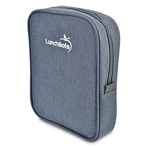 """LunchBots Bento Sleeve - Gray - Carrying Case for LunchBots Bento Uno, Duo, Trio, Cinco Bento 6"""" x 8"""" Containers"""