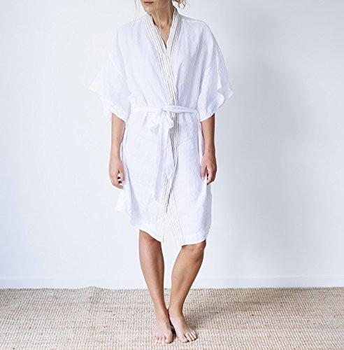 Price comparison product image Merryfeel French Linen Kimono Robe - White - Size 8-14