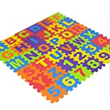"Jannyshop 36Pcs Alphabet Number Non Toxic EVA Puzzle Foam Mats Kids Safety Play Floor, 6.1""×6.1"""