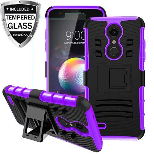 LG K30 Case,LG K10 2018/LG Xpression Plus/LG CV3 Prime/LG Harmony 2/LG Phoenix Plus/Premier Pro LTE Case w/Tempered Glass Screen Protector,Kickstand Heavy Duty Shockproof Protective Phone - Lg Xpression Cover