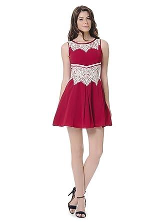 84defb5ccd39 Goddiva New Short Sleeve Less Eyelash Lace Skater Prom Ball Cocktail Party  Dress Size 8-16  Amazon.co.uk  Clothing