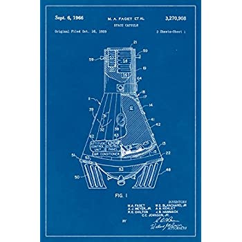 Nasa Mercury Space Capsule Blueprint Art