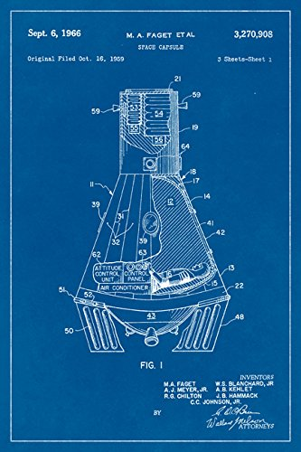 Amazon nasa mercury space capsule blueprint art poster posters nasa mercury space capsule blueprint art poster malvernweather Image collections