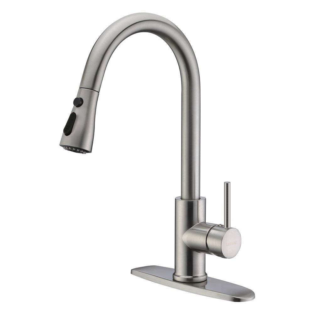 Neady Single Handle Kitchen Faucets with Pull Down Sprayer High-Arch Stainless Steel Kitchen Sink Faucets Pull Out Kitchen Faucet,Brushed Nickel