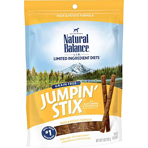 Natural Balance L.I.T. Limited Ingredient Treats Jumpin' Stix Dog Treats, Grain Free, Duck & Potato Formula, 5-Ounce