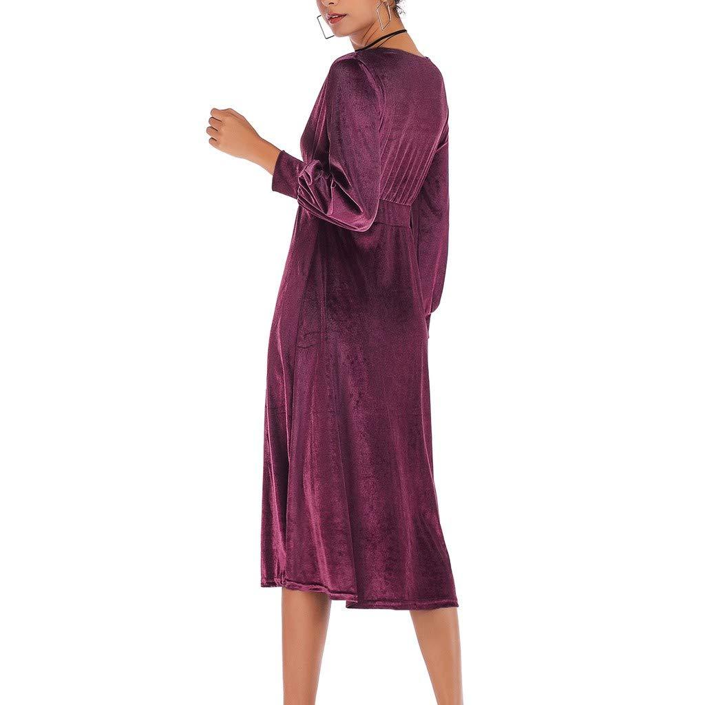 FRAUIT Invierno Vestidos Cruzado Casuales Mujeres Sólido Cruzado Vestidos con Cuello En V Vestido de Terciopelo de Manga Larga Swing Party Vestido Formal Tallas Grandes Vestidos de Moda Túnica de4571