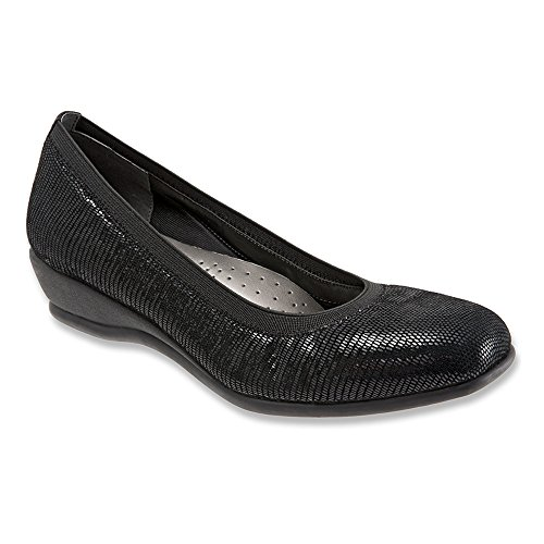 Trotters Mujeres Lansing Wedge Pump Negro Patent Suede Lizard Leather