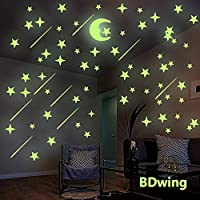 Glow in The Dark Stars and Moon Wall Stickers, Glowing Stars for Ceiling and Wall Decals, Perfect for Kids Bedroom Living Room Decor Kit or Boys Girls Birthday Party Gift