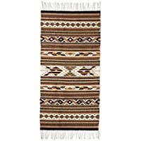 NOVICA Brown Earthtone Geometric Zapotec Wool Area Rug (2.5 x 5), Eyes The Earth