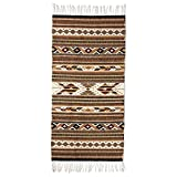 NOVICA Brown and Earthtone Geometric Zapotec Wool Area Rug (2.5' x 5'), 'Eyes Of The Earth'