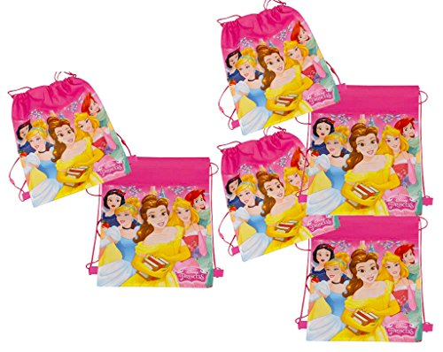 [6-Pack] Disney Princess 14-inch Sling Bags Drawstring Cinch Sack Totes Aurora Tote