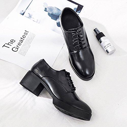 De Hembra Con Una De Sola Primavera La Mujer Zapatos Zapatos Pesados En Zapatos Negro Mujer Hermana Mujer Zapatos Con GAOLIM Suaves De UYw6xqWRF