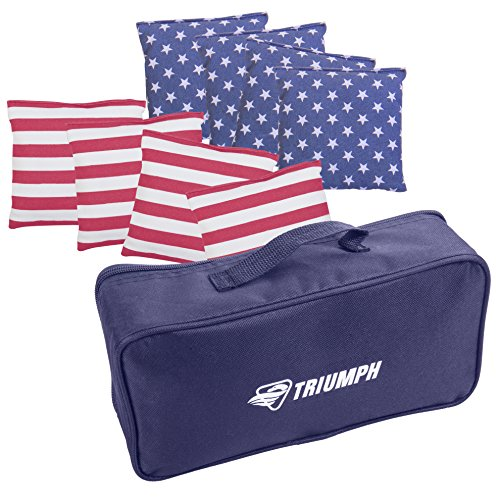 Triumph 8-Pack Patriotic Stars and Stripes 16 oz. Bean Bags with Carry Pouch by Triumph Sports