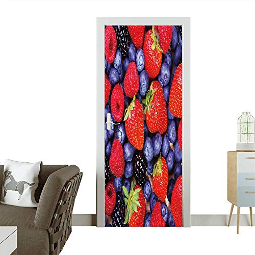Door Sticker Wall Decals Berries Background Strawberries,Blueberry,Raspberries,and BlackBerry Easy to Peel and Stick W23.6 x H78.7 INCH