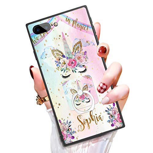 """Someseed Case for iPhone 7 Plus iPhone 8 Plus Case with Kickstand Cute Unicorn Cover Case with 360 Degree Ring Holder Anti Scratch Durable Full Protective for iPhone 7 Plus / 8 Plus 5.5"""""""