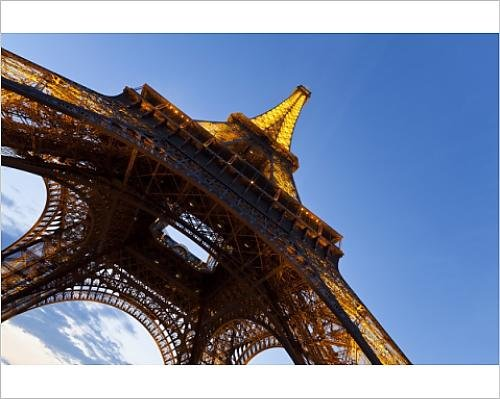 Photographic Print of View upwards from underneath the Eiffel Tower in Paris, France, Europe