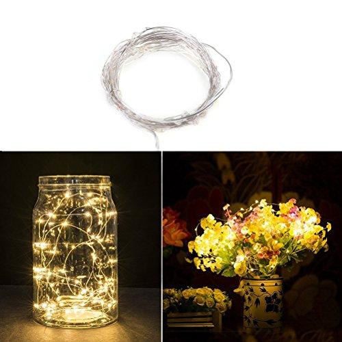 Fairy String luces de alambre de cobre alambre luces 50 LEDs de pilas con control remoto para la decoracin de la boda de Navidad (luz blanca clida)