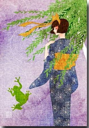Amazon 夏のイラストポストカード 柳 暑中見舞い 絵葉書 ポスト