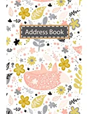 Address Book: Small Address Log Book with Alphabetical Tabs to Record Addresses, Phone Numbers, Emails, Birthdays and Notes Fox Pattern