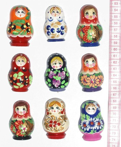Wooden Fridge Magnet, Nesting Doll (Matryoshka), Handpainted Russian Crafts