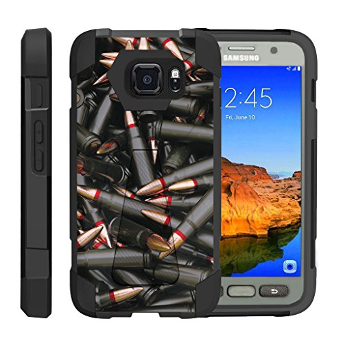 TurtleArmor | Samsung Galaxy S7 Active Case | G891A [Dynamic Shell] Impact Cover Hard Kickstand Hybrid Shock Fitted Silicone Military War Camo Design - Black Bullets