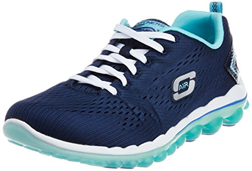 Skechers Sport Women's Skech Air Aim High Fashion Sneaker,Navy Mesh/Light Blue Trim,9 M US