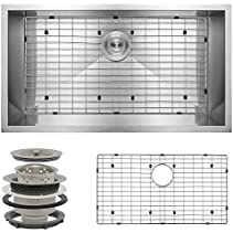 Perfetto Kitchen and Bath 32 Undermount Single Bowl 16 Gauge Stainless Steel Kitchen Sink with Drain and Dish Grid