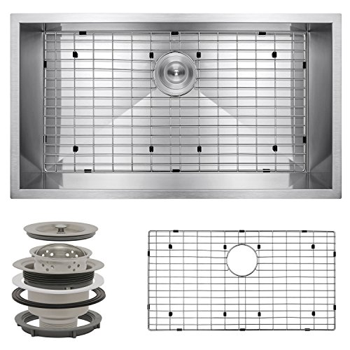 "Perfetto Kitchen and Bath 32"" x 18"" x 9"" Undermount Single Bowl 18 Gauge Stainless Steel Kitchen Sink with Drain and Dish Grid"