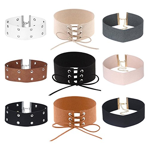 Tan Velvet Cord - Tpocean 9 PCS Choker Necklaces Punk Black Tan Grey Velvet Lace-up Wide Chokers Set for Women Girls 90s