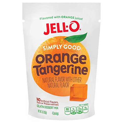 Jell O Simply Good Orange Tangerine Gelatin Mix 3 Ounce Bag